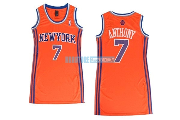Maillot NBA Femme New York Knicks NO.7 Carmelo Anthony Orange Qualité 100%