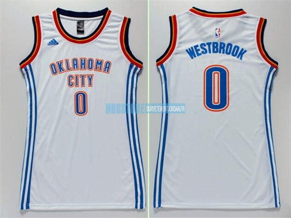 Maillot NBA Femme Oklahoma City Thunder NO.0 Russell Westbrook Blanc Qualité 100%