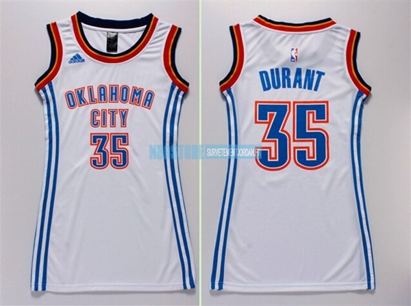 Maillot NBA Femme Oklahoma City Thunder NO.35 Kevin Durant Blanc Qualité 100%