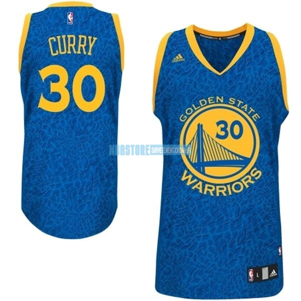 Maillot NBA Golden State Warriors Luz Léopard NO.30 Curry Bleu Qualité 100%