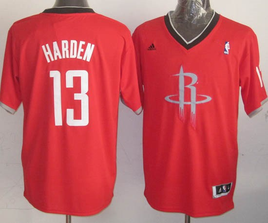 Maillot NBA Houston Rockets 2013 Noël NO.13 Harden Rouge Qualité 100%