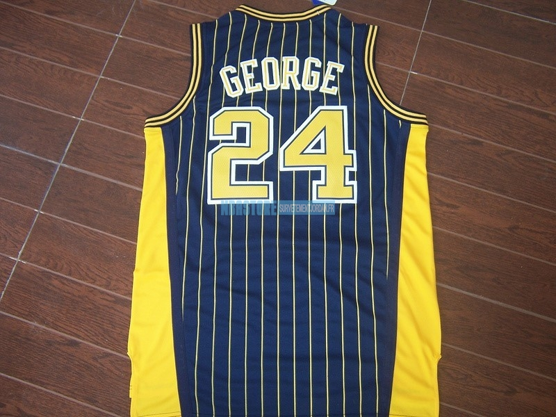 Maillot NBA Indiana Pacers NO.24 Paul George Bleu Bande Qualité 100%