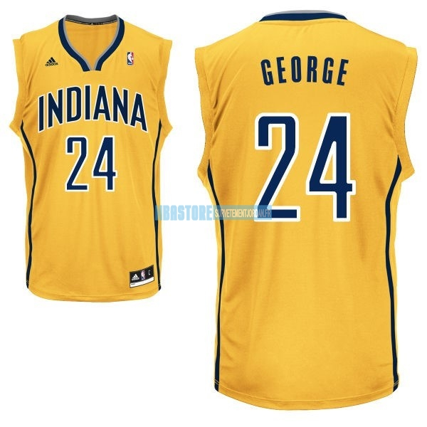 Maillot NBA Indiana Pacers NO.24 Paul George Jaune Qualité 100%