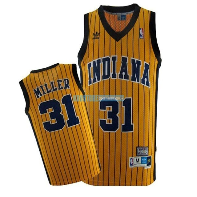 Maillot NBA Indiana Pacers NO.31 Reggie Miller Jaune Bande Qualité 100%