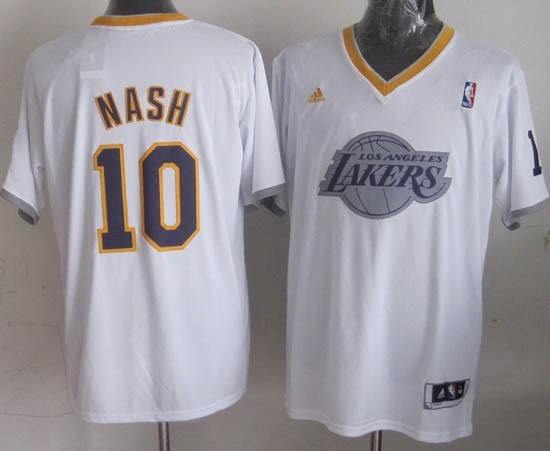 Maillot NBA Los Angeles Lakers 2013 Noël NO.10 Nash Blanc Qualité 100%