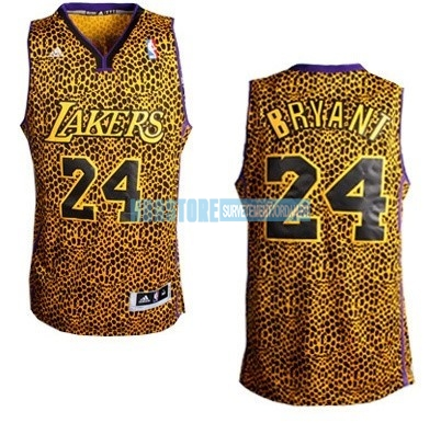 Maillot NBA Los Angeles Lakers Luz Léopard NO.24 Bryant Dorado Qualité 100%