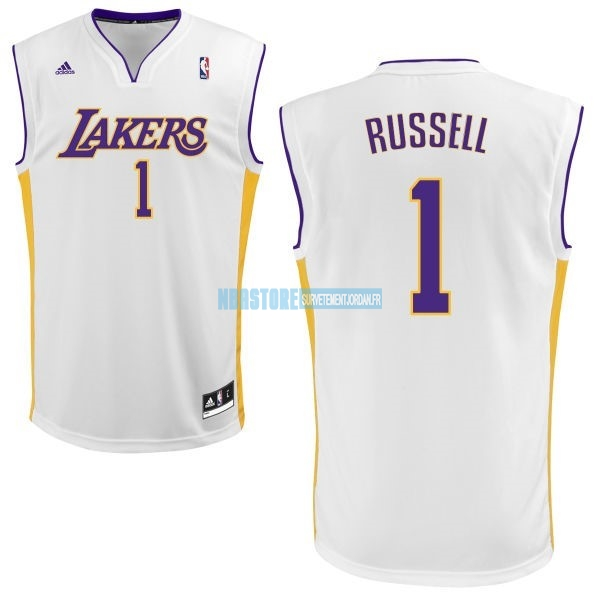 Maillot NBA Los Angeles Lakers NO.1 D'Angelo Russell Blanc Qualité 100%