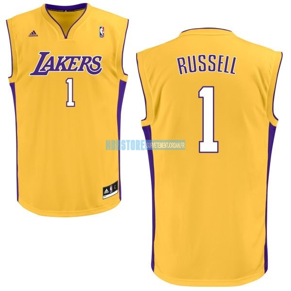 Maillot NBA Los Angeles Lakers NO.1 D'Angelo Russell Jaune Qualité 100%