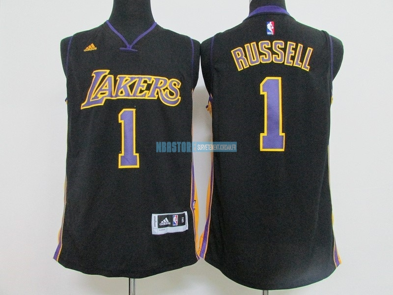 Maillot NBA Los Angeles Lakers NO.1 D'Angelo Russell Noir Qualité 100%