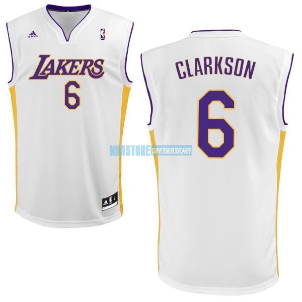 Maillot NBA Los Angeles Lakers NO.6 Jordan Clarkson Blanc Qualité 100%