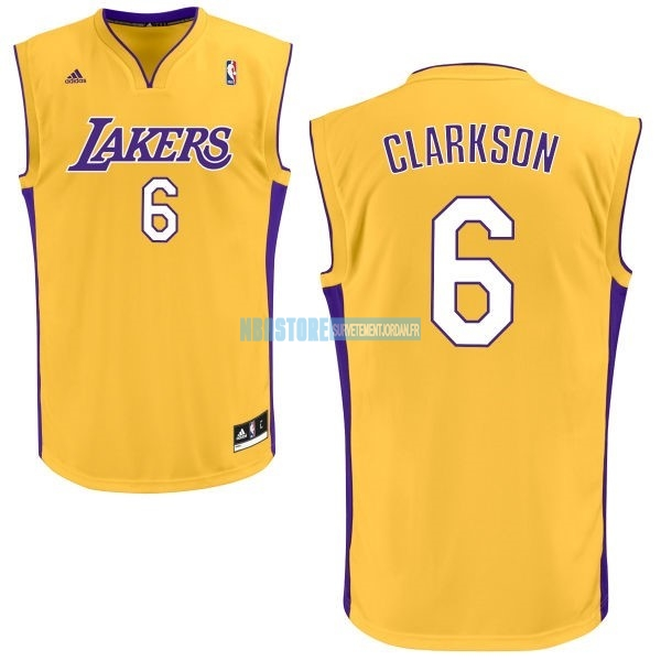 Maillot NBA Los Angeles Lakers NO.6 Jordan Clarkson Jaune Qualité 100%