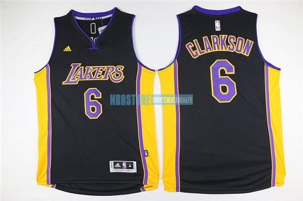 Maillot NBA Los Angeles Lakers NO.6 Jordan Clarkson Noir Qualité 100%