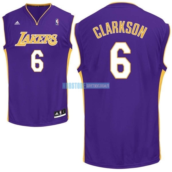 Maillot NBA Los Angeles Lakers NO.6 Jordan Clarkson Pourpre Qualité 100%
