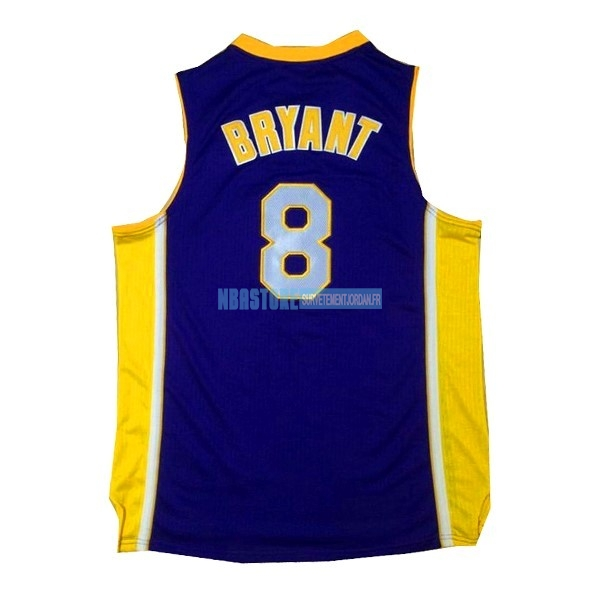 Maillot NBA Los Angeles Lakers NO.8 Kobe Bryant Pourpre Jaune Qualité 100%