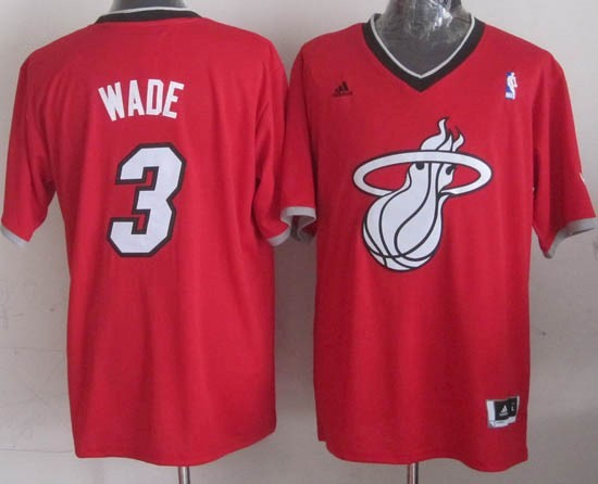 Maillot NBA Miami Heat 2013 Noël NO.3 Wade Rouge Qualité 100%