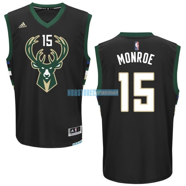 Maillot NBA Milwaukee Bucks NO.15 Greg Monroe Noir Qualité 100%