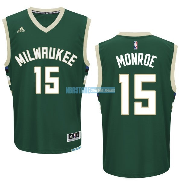 Maillot NBA Milwaukee Bucks NO.15 Greg Monroe Vert Qualité 100%
