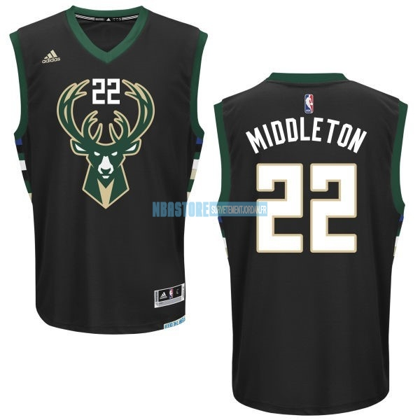 Maillot NBA Milwaukee Bucks NO.22 Khris Middleton Noir Qualité 100%