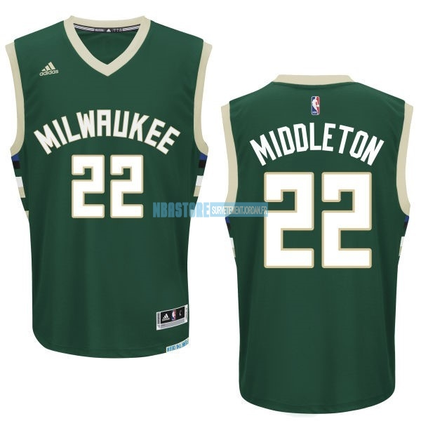 Maillot NBA Milwaukee Bucks NO.22 Khris Middleton Vert Qualité 100%