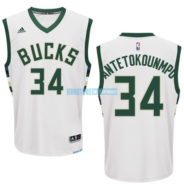 Maillot NBA Milwaukee Bucks NO.34 Giannis Antetokounmpo Blanc Qualité 100%