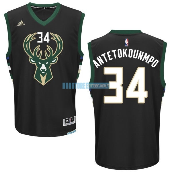 Maillot NBA Milwaukee Bucks NO.34 Giannis Antetokounmpo Noir Qualité 100%