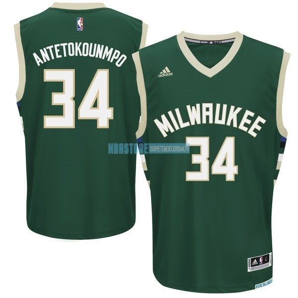 Maillot NBA Milwaukee Bucks NO.34 Giannis Antetokounmpo Vert Qualité 100%