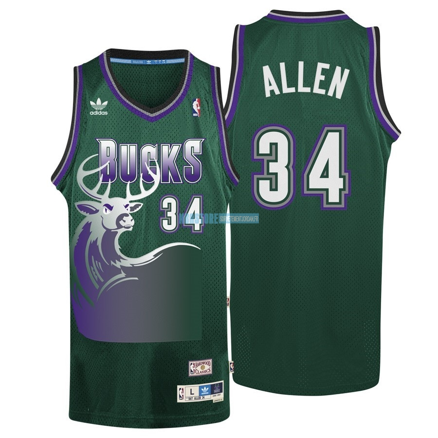 Maillot NBA Milwaukee Bucks NO.34 Ray Allen Vert Qualité 100%