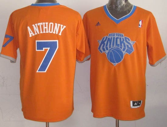 Maillot NBA New York Knicks 2013 Noël NO.7 Anthony Orange Qualité 100%