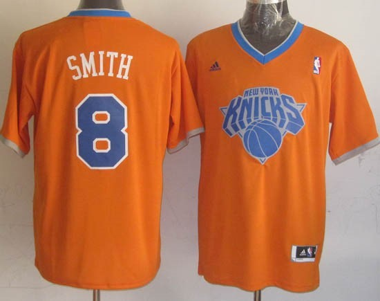Maillot NBA New York Knicks 2013 Noël NO.8 Smith Orange Qualité 100%