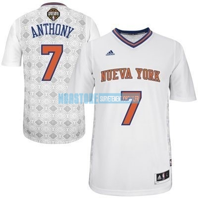 Maillot NBA New York Knicks Nuits Latine Manche Courte NO.7 Anthony Blanc Qualité 100%