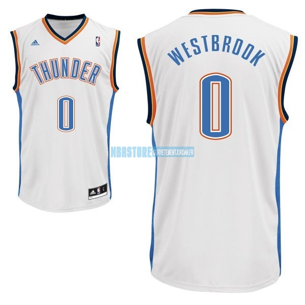 Maillot NBA Oklahoma City Thunder NO.0 Russell Westbrook Blanc Qualité 100%