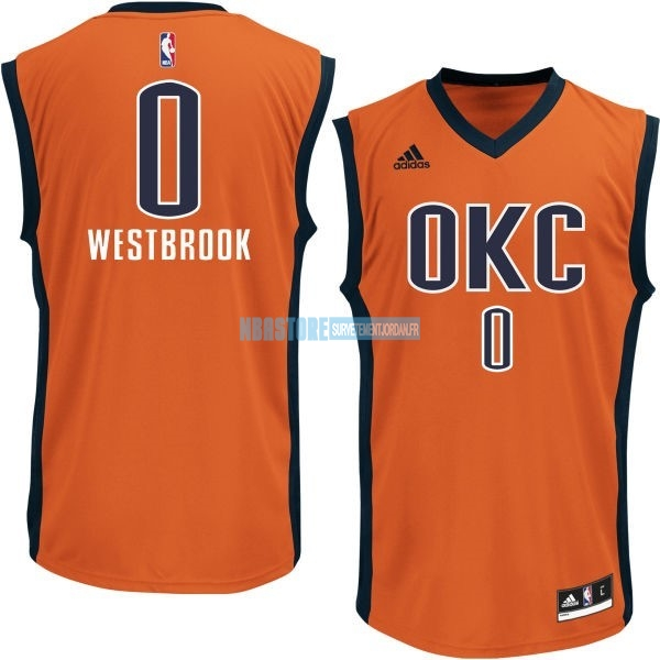 Maillot NBA Oklahoma City Thunder NO.0 Russell Westbrook Orange Qualité 100%