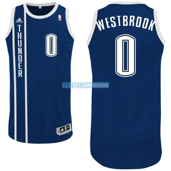 Maillot NBA Oklahoma City Thunder NO.0 Russell Westbrook Retro Bleu Qualité 100%