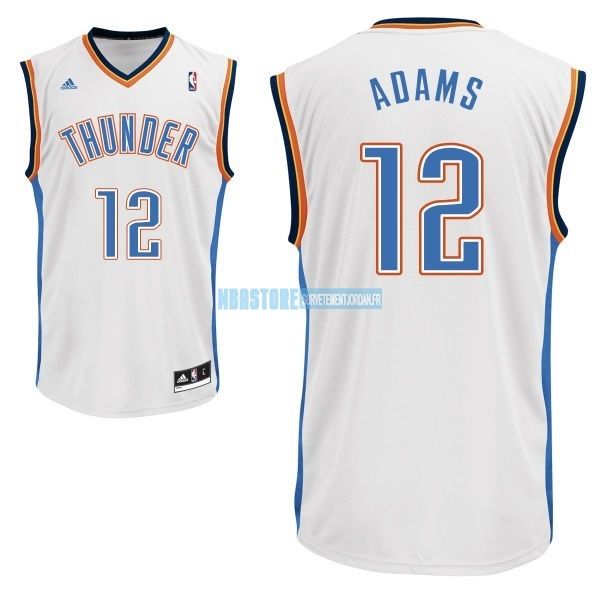 Maillot NBA Oklahoma City Thunder NO.12 Steven Adams Blanc Qualité 100%