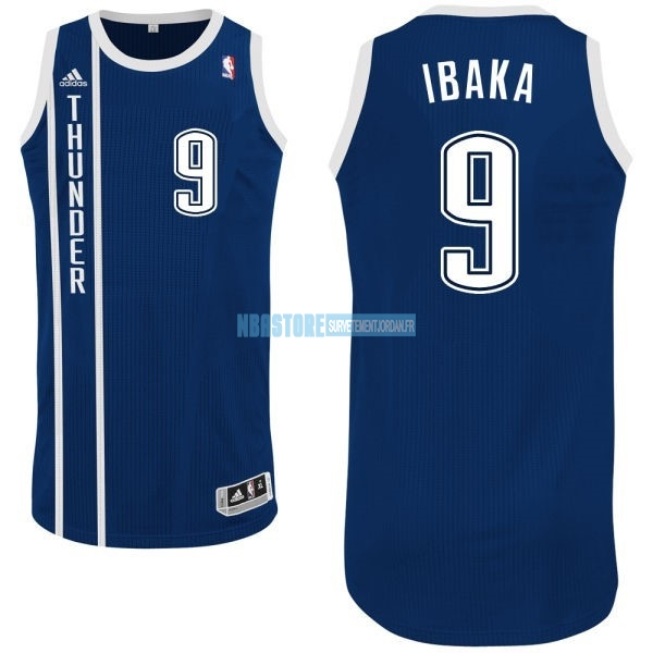 Maillot NBA Oklahoma City Thunder NO.9 Serge Ibaka Retro Bleu Qualité 100%