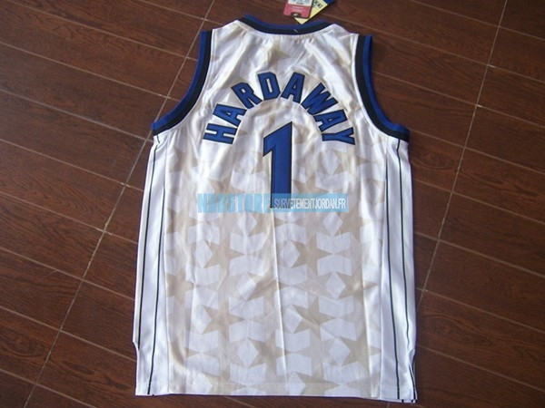 Maillot NBA Orlando Magic NO.1 Anfernee Hardaway Blanc Sombre Qualité 100%
