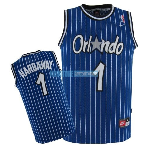 Maillot NBA Orlando Magic NO.1 Anfernee Hardaway Bleu Qualité 100%