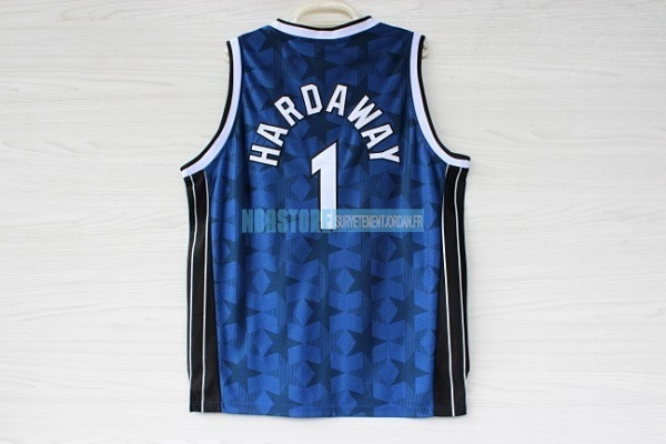Maillot NBA Orlando Magic NO.1 Anfernee Hardaway Bleu Sombre Qualité 100%