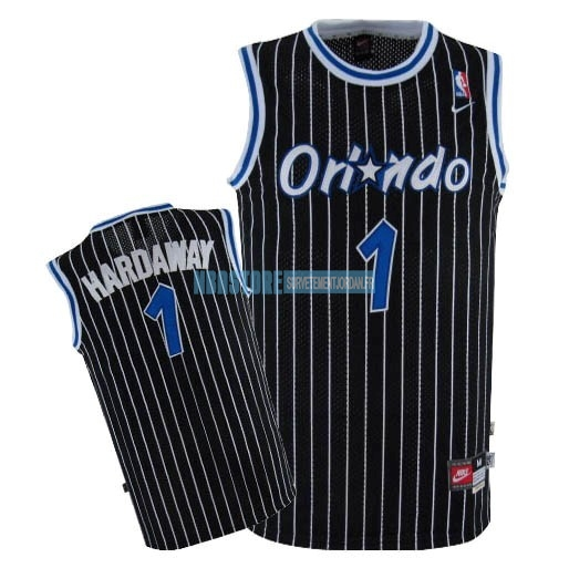 Maillot NBA Orlando Magic NO.1 Anfernee Hardaway Noir Qualité 100%