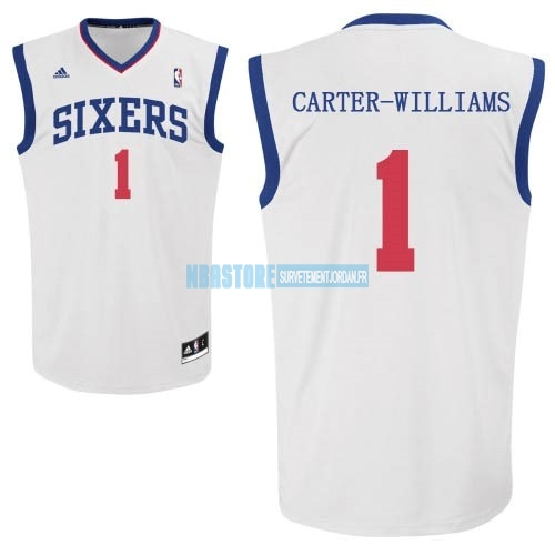 Maillot NBA Philadelphia Sixers NO.1 Michael Carter Williams Blanc Qualité 100%