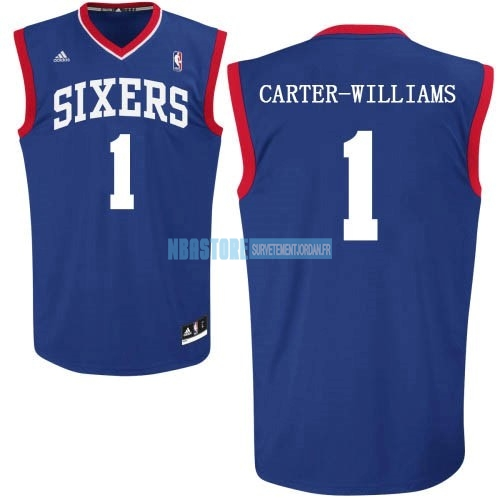 Maillot NBA Philadelphia Sixers NO.1 Michael Carter Williams Bleu Qualité 100%