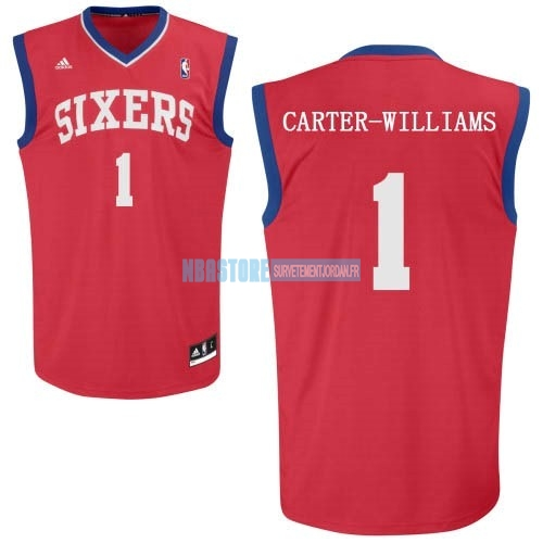 Maillot NBA Philadelphia Sixers NO.1 Michael Carter Williams Rouge Qualité 100%