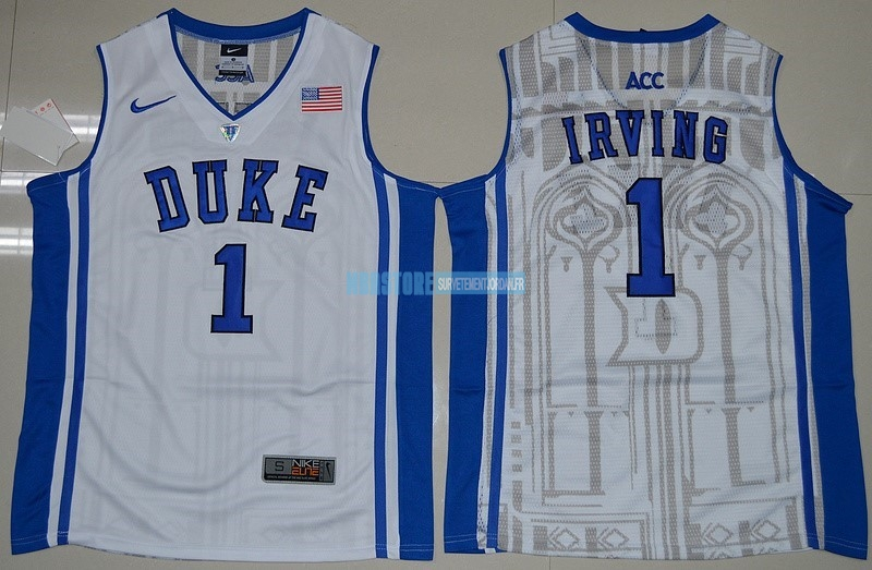 Maillot NCAA Duke NO.1 Kyrie Irving Blanc Bleu Qualité 100%
