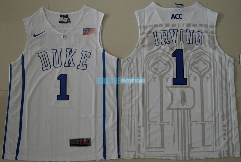 Maillot NCAA Duke NO.1 Kyrie Irving Blanc Qualité 100%