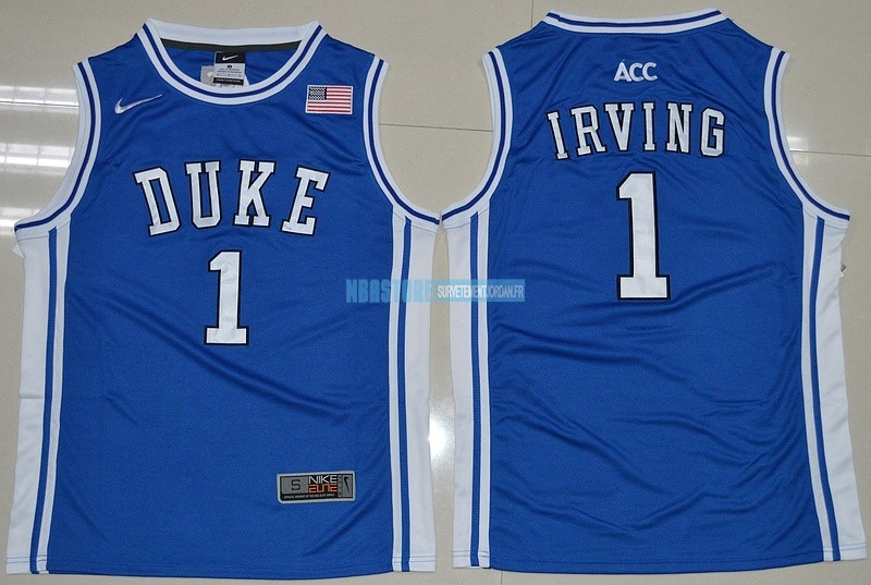 Maillot NCAA Duke NO.1 Kyrie Irving Bleu Blanc Qualité 100%