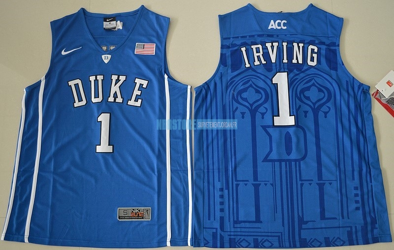 Maillot NCAA Duke NO.1 Kyrie Irving Bleu Qualité 100%
