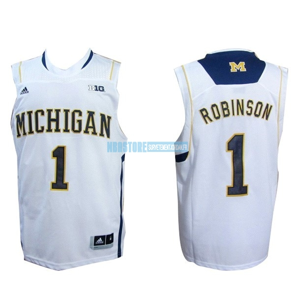 Maillot NCAA Michigan NO.1 Glenn Robinson III Blanc Qualité 100%