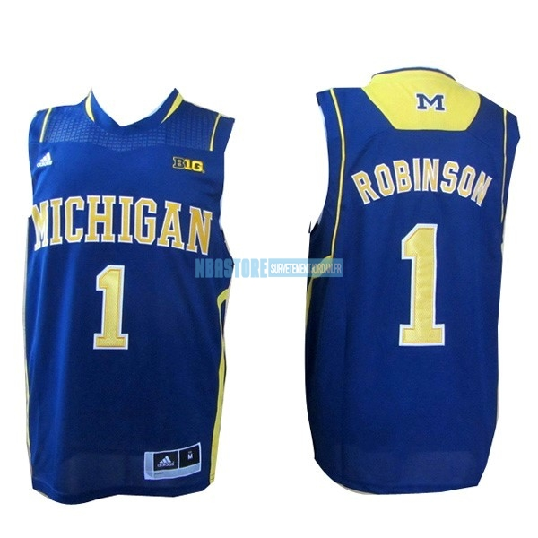 Maillot NCAA Michigan NO.1 Glenn Robinson III Bleu Qualité 100%