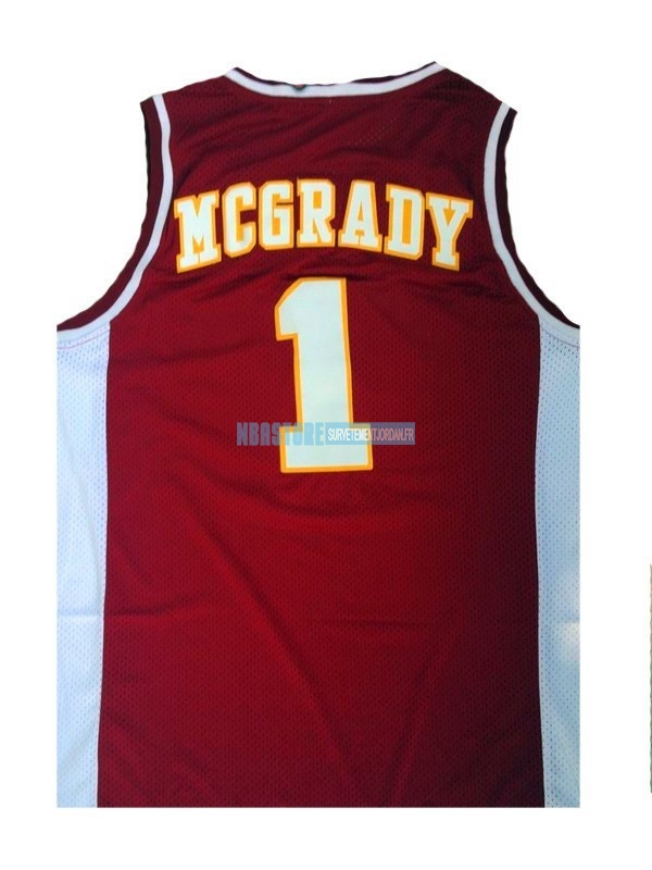 Maillot NCAA Mountzion NO.1 Tracy McGrady Rouge Qualité 100%