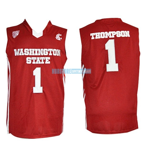 Maillot NCAA Washington State NO.1 Thompson Rouge Qualité 100%